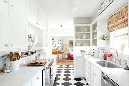 white kitchen floor smart tv 17 modern kitchens traditional with checker