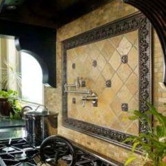 Tuscan Style Kitchen Nook Table Tile Backsplash Gives Splash Of