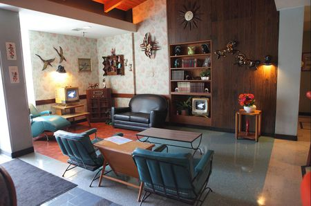 mid century modern living room funky furniture elements
