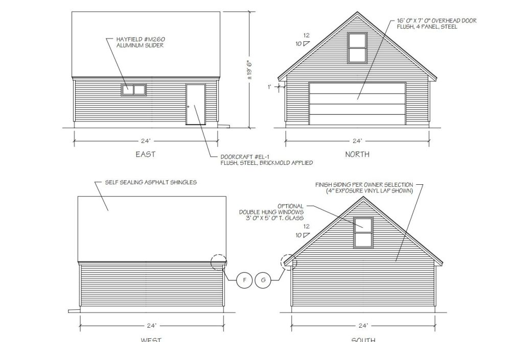 medium resolution of a diagram of four sides of a garage