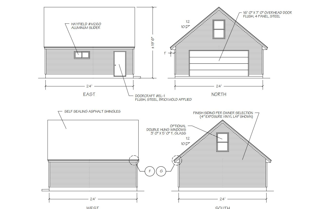 hight resolution of a diagram of four sides of a garage