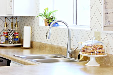 kitchen backsplash photos step 2 play kitchens 13 removable ideas fake a herringbone
