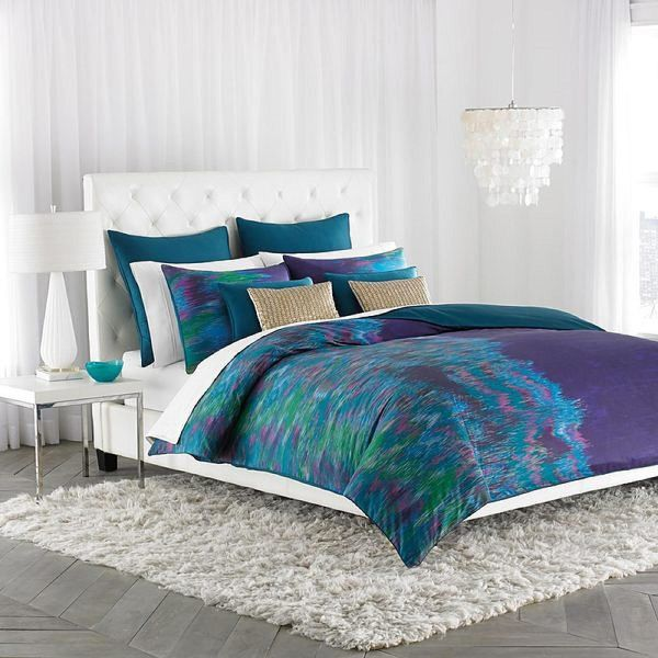 Decorating Bedroom With Green Blue And Purple