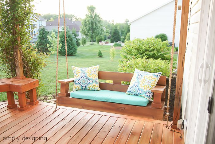 swing chair home town serta warranty contact 12 free porch plans to build at a wooden on deck