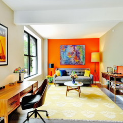 Bright Colour Living Room Ideas Diy Small Makeover 16 Rooms With Accent Walls Orange Wall In