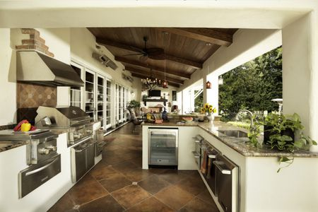 patio kitchen stick on tile backsplash 50 enviable outdoor kitchens for every yard