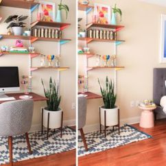 Home Office In Living Room Ideas Curtain Designs 27 Surprisingly Stylish Small Colorful Bedroom