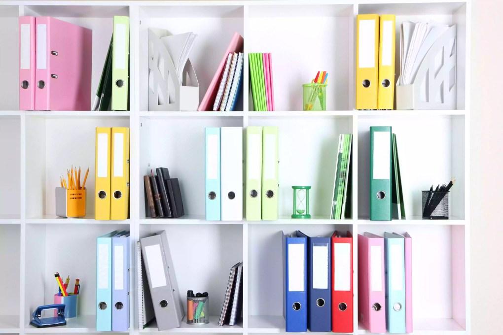 White office shelves