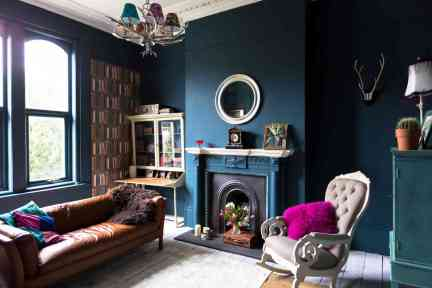 deep blue paint in a living room