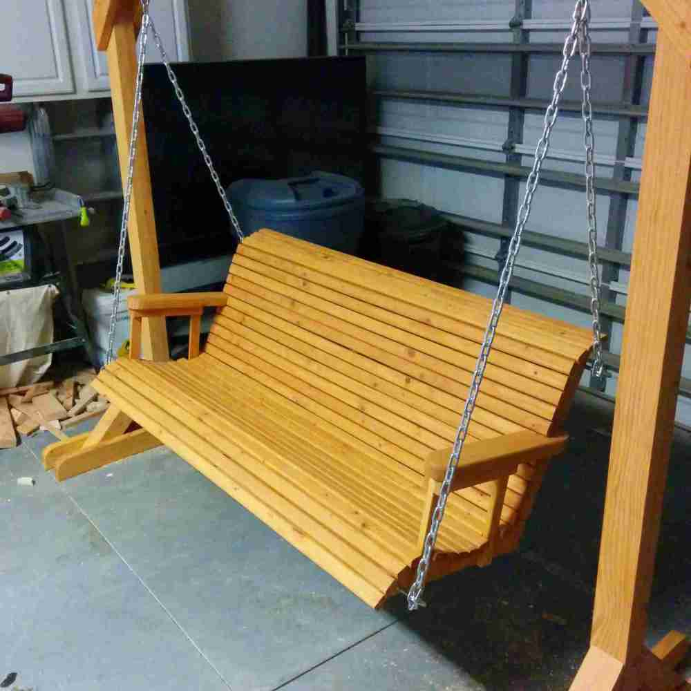 medium resolution of a porch swing in a garage