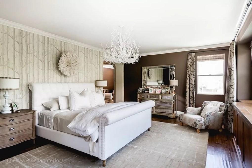 Glamorous bedroom with birch tree wallpaper