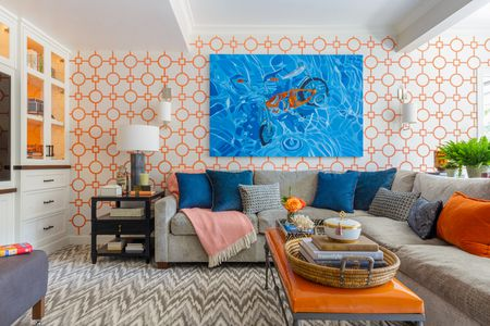 contemporary living room colors best carpet color for 20 gorgeous schemes every taste orange blue and gray