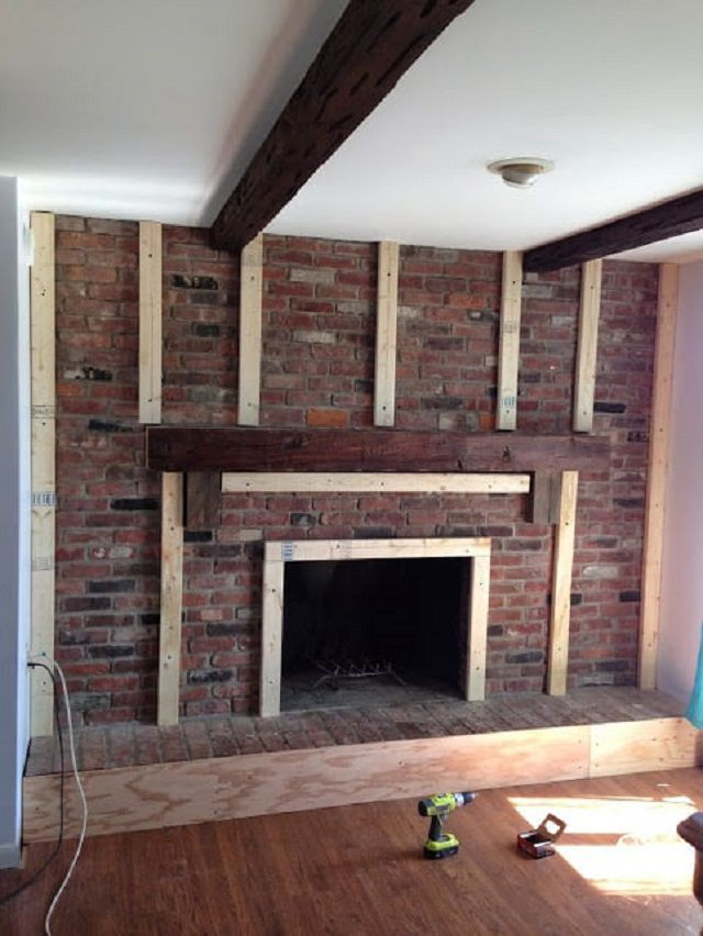 Attaching Wood To Brick Fireplace
