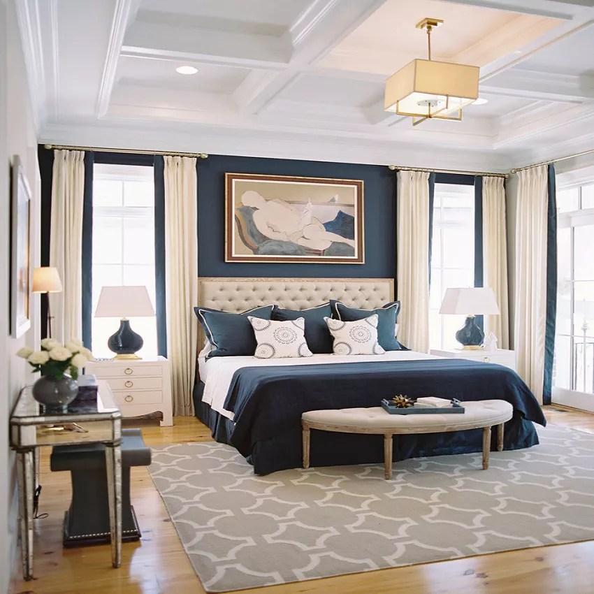 Elegant navy blue and cream bedroom