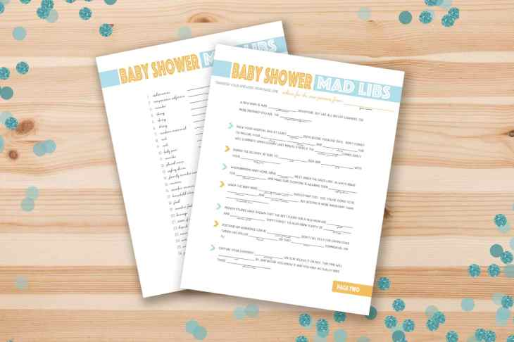 Free, Printable Baby Shower Games of Mad Libs