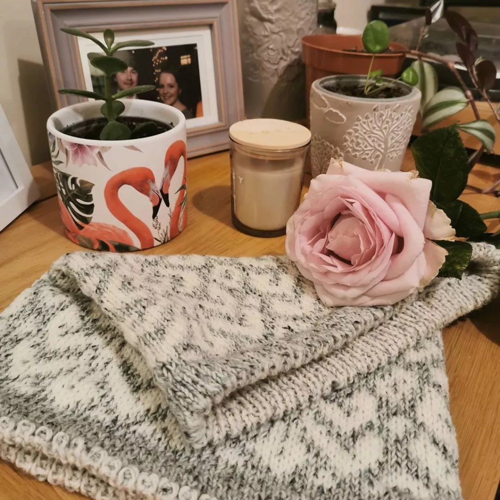Table with knitting on it