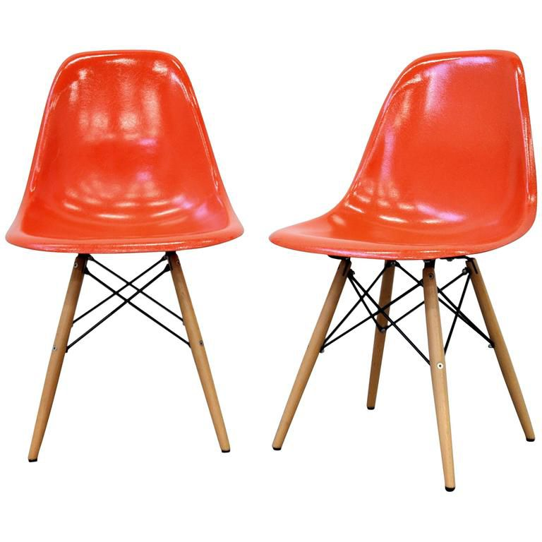 herman miller chairs vintage chair rail for beadboard how to identify a genuine eames molded side pair of orange fiberglass dowel