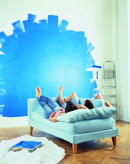 painting for living room feng shui modern ideas with black leather sofa how to use the color blue good