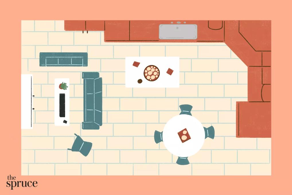 nhà bếp với sơ đồ tầng mở
