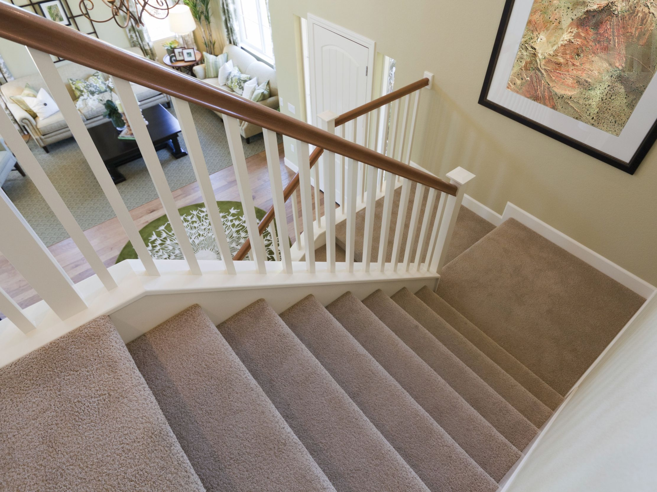 The Best Carpet For Stairs | Hall Stairs And Landing Carpet | Stair Landing 1028 1028 | Staircase | Grey | White | Pinstripe Grey