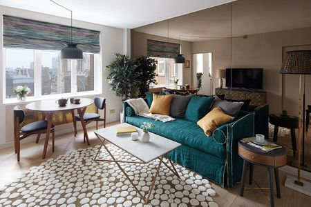 one sofa living room ideas beige paint colors for how to decorate a small in 17 ways teal couch with mirrored wall