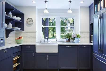 kitchen cabinets com stainless steel cart beautiful blue cabinet ideas navy apron sink