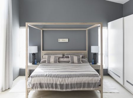 gray bedroom color pairing