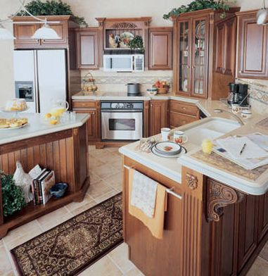 rustic kitchen cabinet 1950s appliances country or design ideas cherry finished style cabinets
