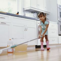 Cleaning Kitchen Floors Island With Granite Top And Seating 6 Common Mop Types What To Use Them For Girl Floor Smiling Low Angle View