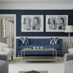 Dark Blue Sofa Living Room Black Leather Furniture Ideas Against Walls