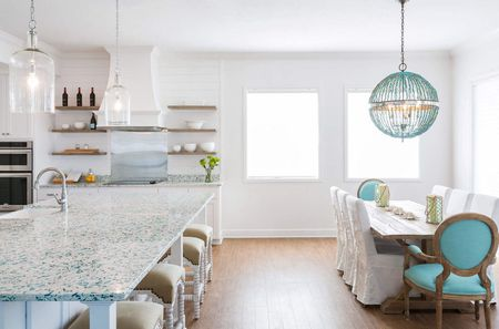 recycled glass kitchen countertops knotty pine cabinets 14 kitchens with bretagne blue countertop in a beach cottage