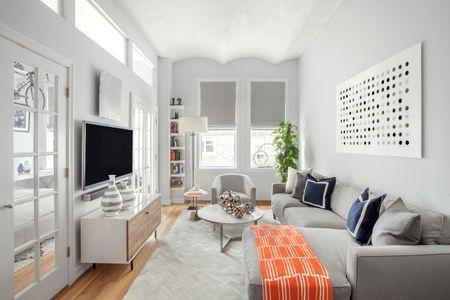 Narrow Living Room With Sofa