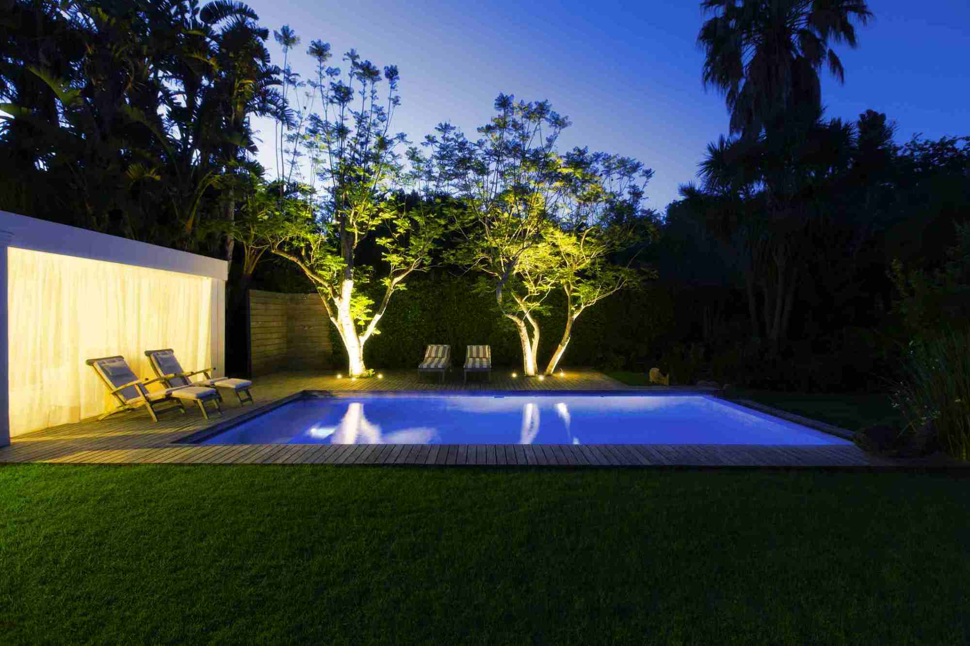 hight resolution of illuminated swimming pool and trees in backyard at dusk