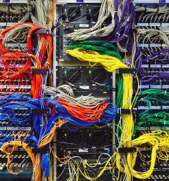 colorful computer wires in server room [ 3534 x 2817 Pixel ]
