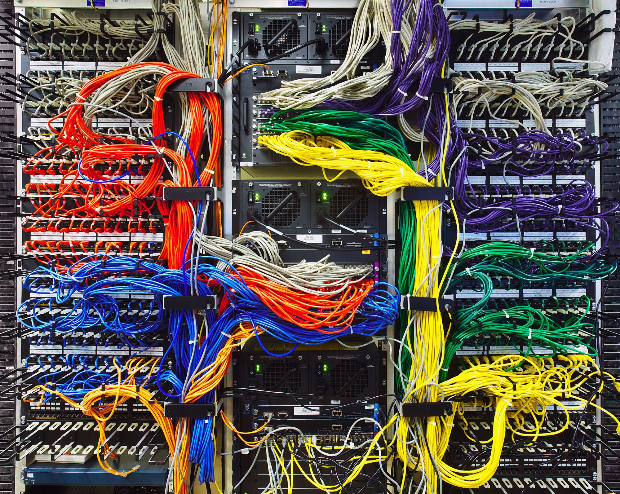 hight resolution of colorful computer wires in server room