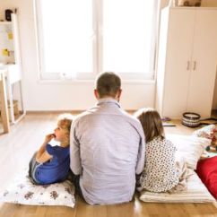 Living Room Pillows Floor Bungalow Ideas 7 Best Of 2019 Hipster Father With His Daughters Sitting On