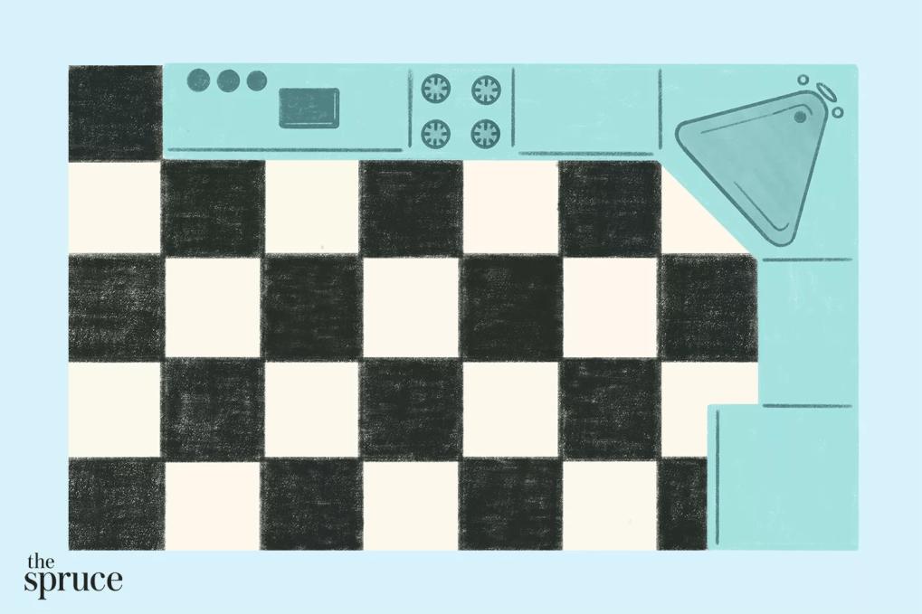 nhà bếp hình chữ L cổ điển