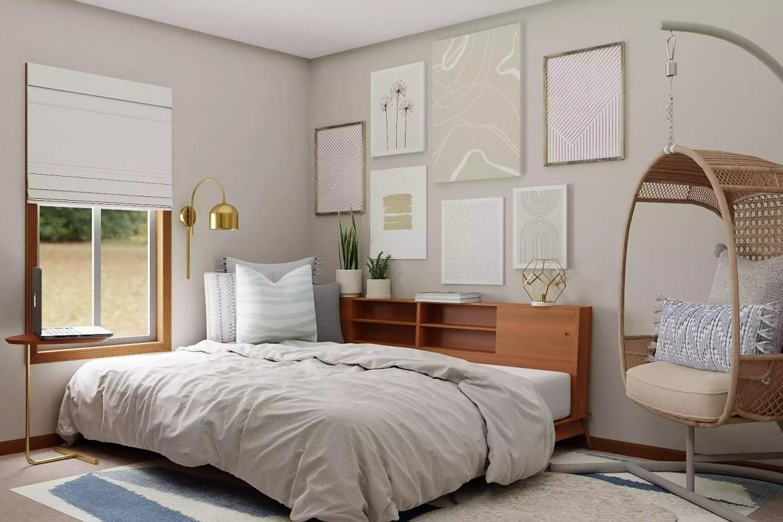 Airy bedroom decor with corner nook