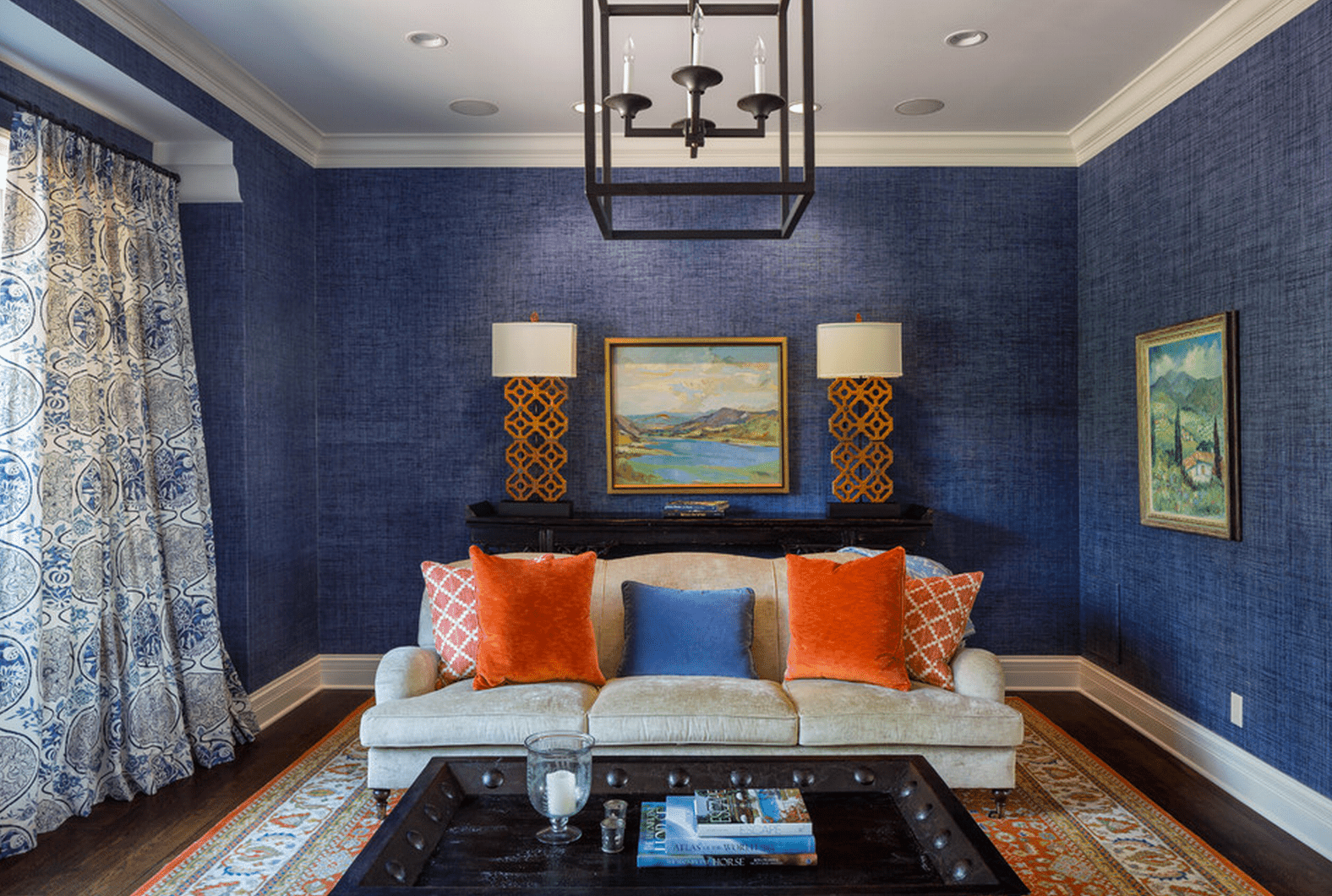 blue walls living room large flower vase ideas