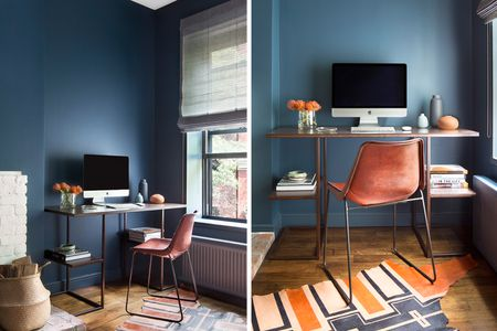 desk in living room apartment rug placement 21 ideas perfect for small spaces leggy and chair nyc