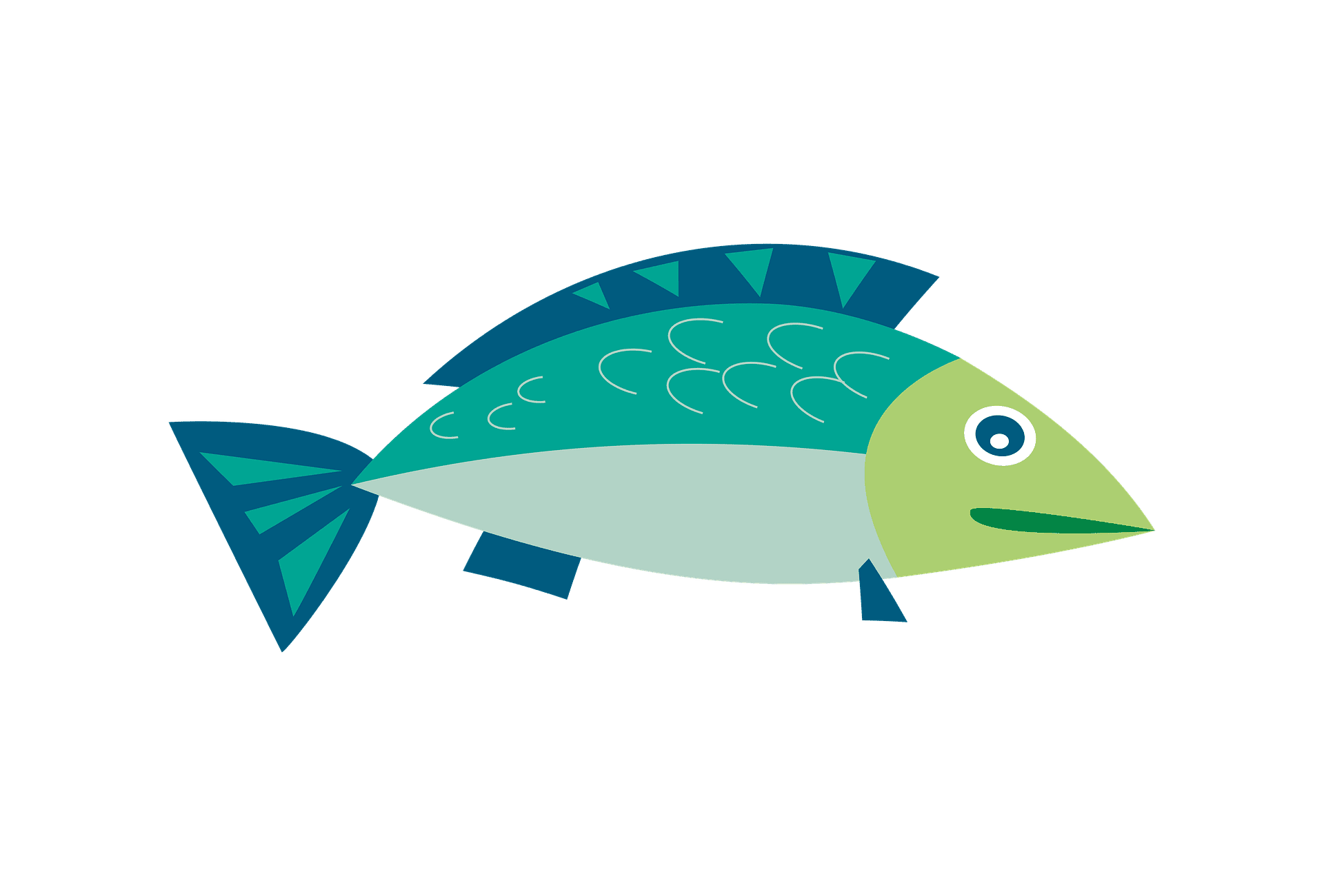 hight resolution of a blue and green illustrated fish