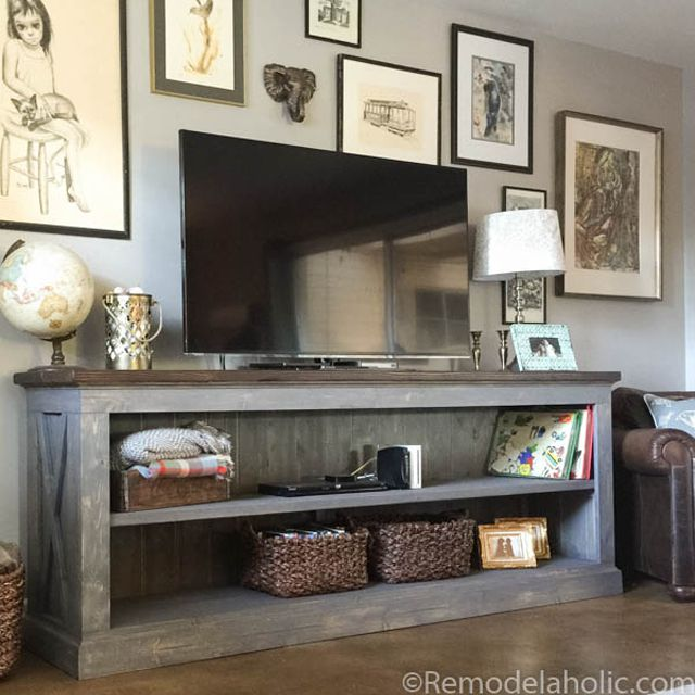tv stands for living room what color should i paint my walls with a brown couch 11 free diy stand plans you can build right now two large shelves