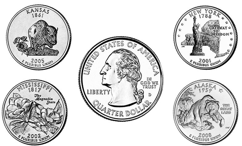 50 State Quarters, D.C., and Territories Coin Values