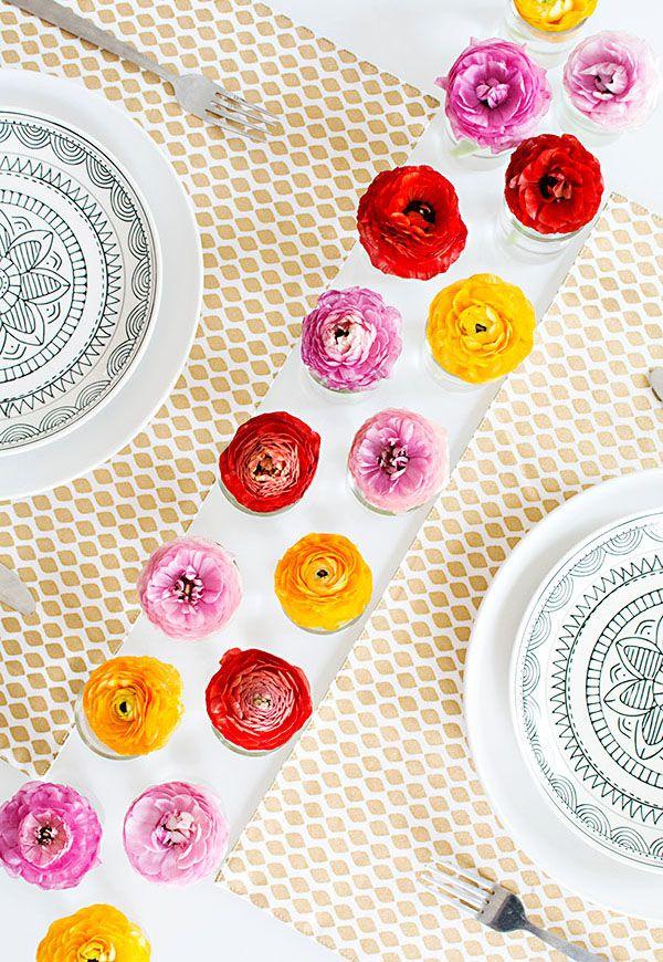 DIY Spring Floral Table Runner