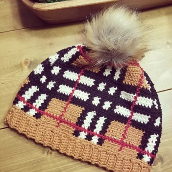 Plaid Crochet Beanie Hat Pattern