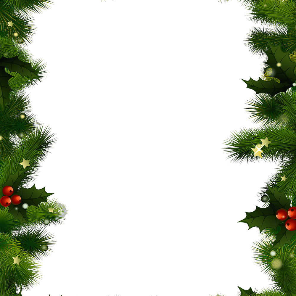 medium resolution of a christmas border with evergreen and berries