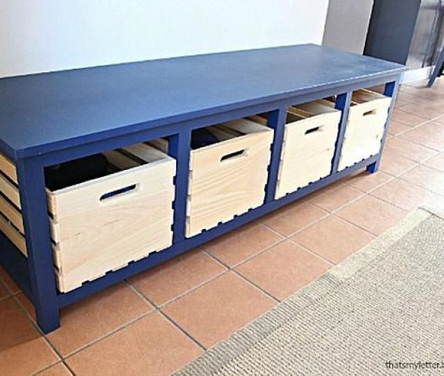 A Blue Storage Bench With Room For Shoes