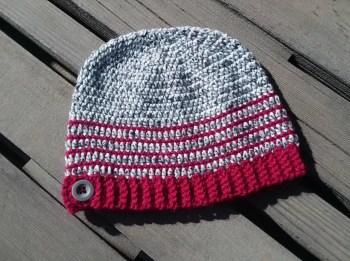 Crochet Button Hat Free Beanie Pattern