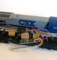 this nce decoder is installed on an athearn ho locomotive frame and motor the shell is a modified bachmann model the decoder and wires are held to the top  [ 2128 x 1424 Pixel ]
