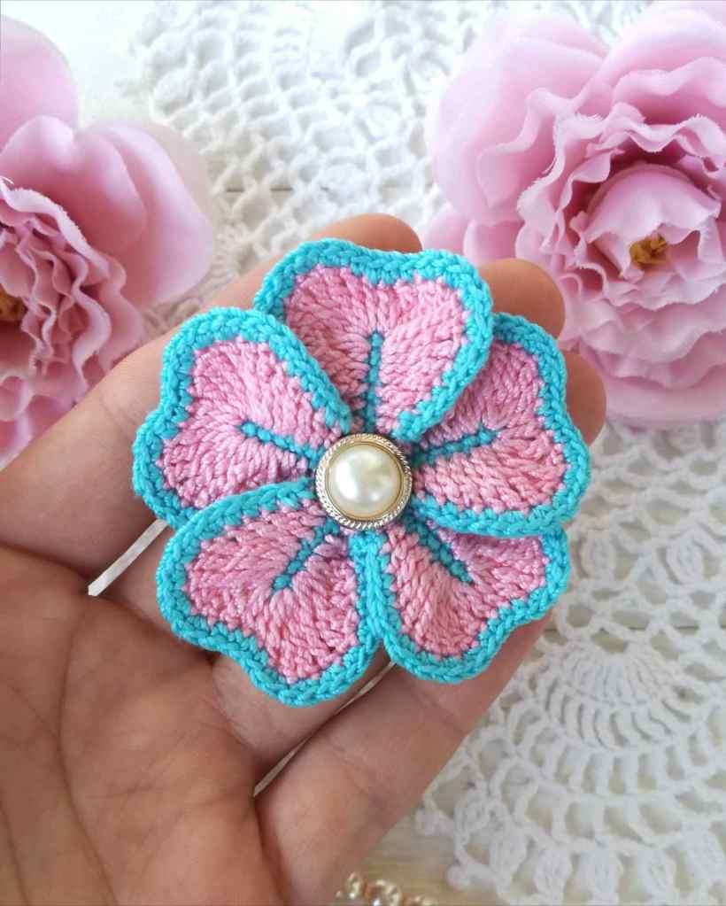 Simple Five Petal Crochet Flower